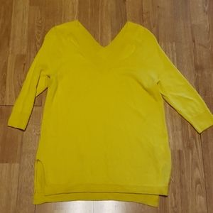 ANTHRO Moth 100% merino wool bright yellow sweater